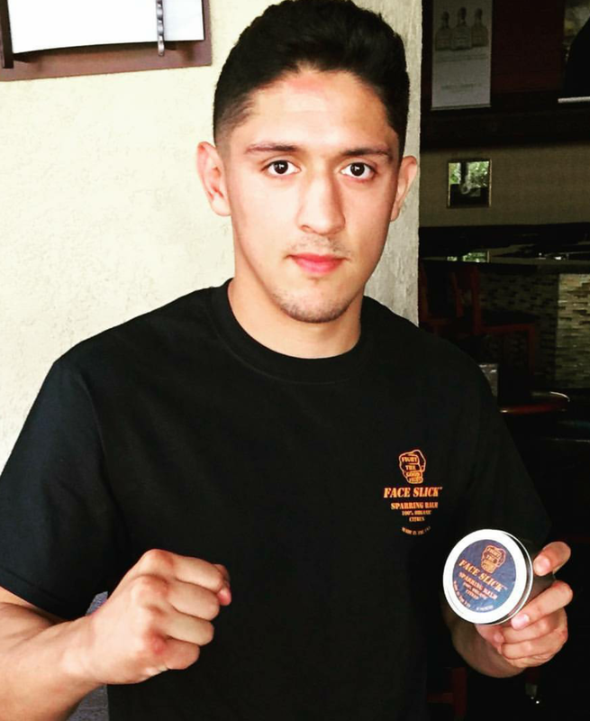 Pro Boxer Giovanni Santillan with Face Slick Sparring Balm, http://www.faceslick.com/